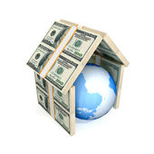 Earth under the roof made of money. — Stock Photo