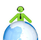 3d small person with a headphones near globe. — Stock Photo