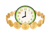 Golden coins around green watches. — Stock Photo