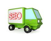 Grön lastbil med en ordet seo på en kropp. — Stockfoto