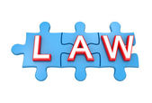 Blue puzzles with a word LAW. — Stock Photo