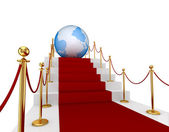 Red carpet su scale e terra. — Foto Stock