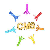 Colorful 3d small and golden word CMS. — Stock Photo