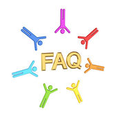 Colorful 3d small around golden word FAQ. — Stock Photo