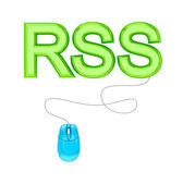 PC mouse and green word RSS. — Stock Photo