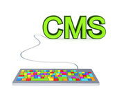 Colorful PC keyboard and big green word CMS. — Stock Photo
