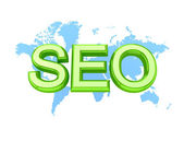 Green word SEO and world's map. — Stock Photo