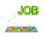 Colorful PC keyboard and big green word JOB. — Stock Photo