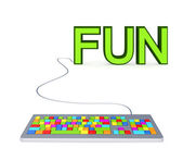 Colorful PC keyword and big green word FUN. — Stock Photo