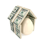 Eggshell under the roof made of money. — Stock Photo