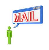 3d janela pequena pessoa e so com o mail de palavra. — Fotografia Stock