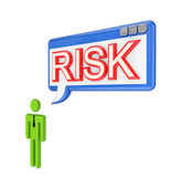 3d small person and OS window with word RISK. — Stock Photo
