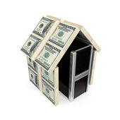 PC under the roof made of dollars. — Stock Photo