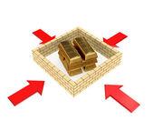 Golden bars behind a brick wall. — Stock Photo