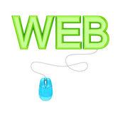 Pc-maus und grün-wort-web. — Stockfoto