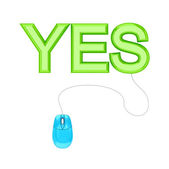 PC mouse and green word YES. — Stock Photo