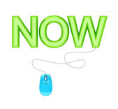 PC mouse and green word NOW. — Stock Photo