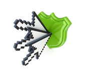 Cursors and green protection symbol. — Stock Photo