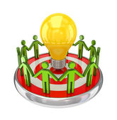 3d small standing on a dartboard around a lamp. — Stock Photo