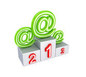 Three email signs on pedestal. — Stock Photo