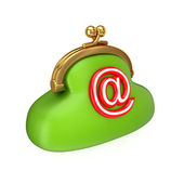 Green purse with a red email sign. — Stock Photo