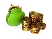 Zelená kabelka a zlaté mince. — Stock fotografie