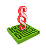 Green labyrinth and red paragraph sign. — Stock Photo