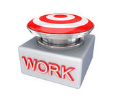 Red button with a big word WORK. — Stock Photo