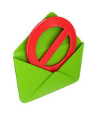 Green envelope and red STOP sign. — Stock Photo