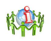 3d small around globe and info symbol. — Stock Photo