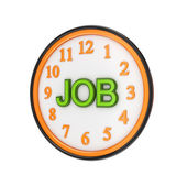 Orange watch and green word JOB. — Stock Photo