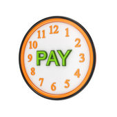 Orange watch and green word PAY. — Stock Photo