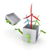 Colorido molinos de viento en una caja de regalo. — Foto de Stock