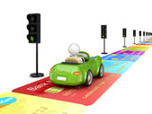 Green car driving on a road made of credit cards. — Stock Photo