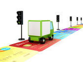 Green truck driving on a road made of colorful credit cards. — Foto Stock