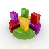 Server PCs on a colorful graph. — Stock Photo