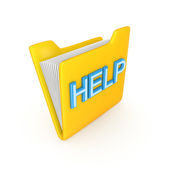 Yellow PC folder with a blue inscription HELP. — Stock Photo