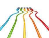 Barevné propojovacích kabelů. — Stock fotografie