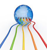 Colorful patc cords connected to a globe. — Stock Photo