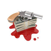 Chromed revolver and dollar packs on a bloody stain. — Stock Photo