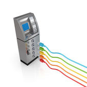 ATM and colorful patch cords. — Stock Photo