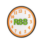 Orange watch and green word RSS. — Stock Photo