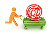 Running 3d small person and email sign on a pushcart. — Stock Photo