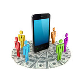 Colorful 3d small around mobile phone and dollars. — Stock Photo