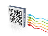 QR code and colorful patch cords. — Stock Photo