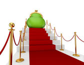 Green purse on a red staircase. — Stock Photo