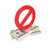 Red stop symbol and dollar packs. — Stock Photo