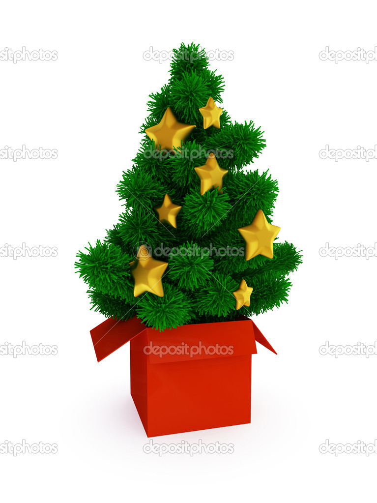 Evergreen tree in red box. Christmas surprise concept. Isolated on white background. — Stock Photo #8431734