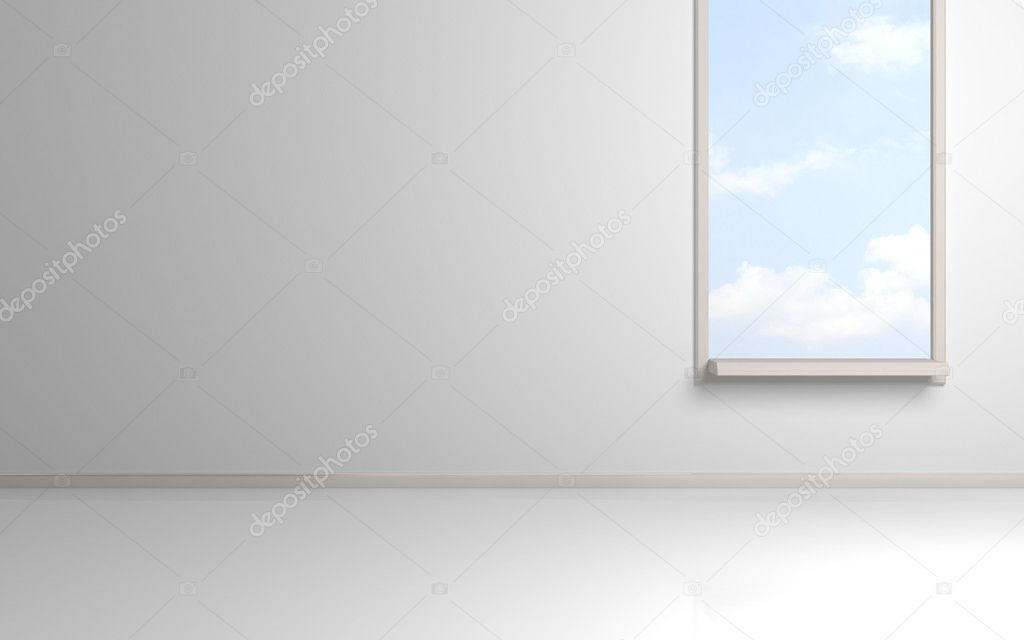 White empty room with opened window and blue cloudy sky behind.3d rendered. — Stock Photo #8432654