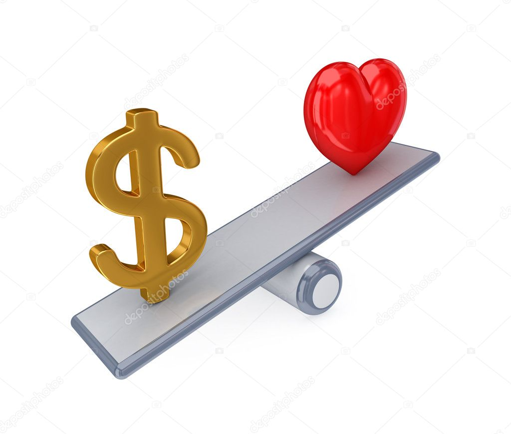 Red heart and dollar sign on simple scales. 3d rendered. Isolated on white background.  Stock Photo #8433893